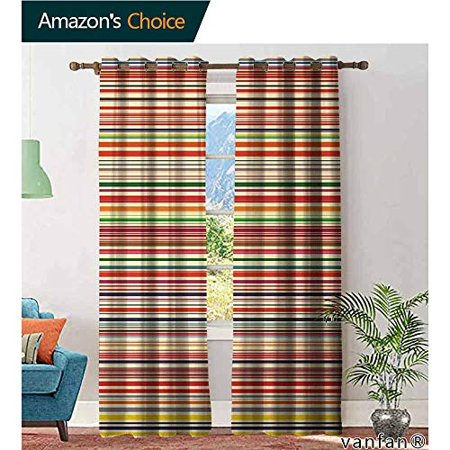 LQQBSTORAGE Abstract,Window Treatments Curtains Valance,Vivid Horizontal Colorful Striped Lines Background Rainbow Bars Artistic Display,Curtains Kitchen Window,Multicolor