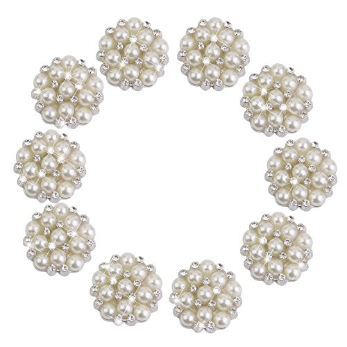 aux Pearl Flower Embellishments Button Flatback Brooches Small Pearl Crystal Wedding Bouquet Kit Set, 22mm, 10Pcs ()