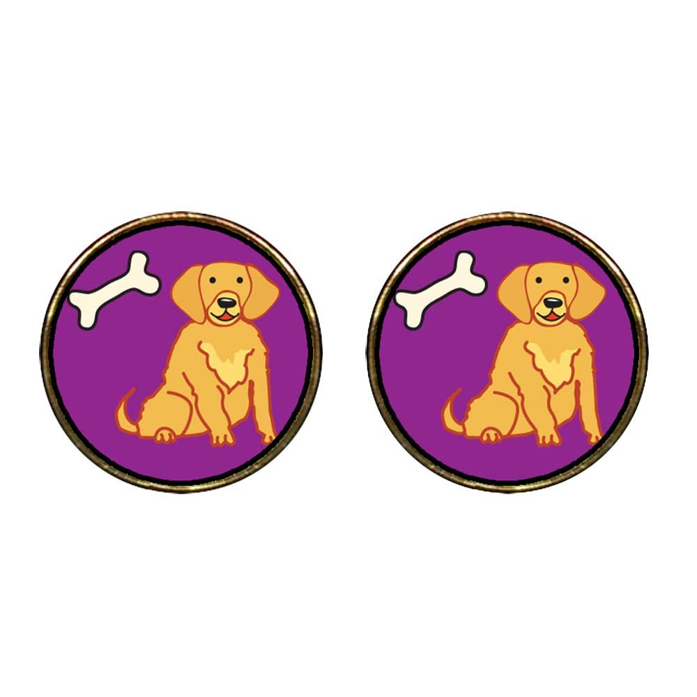 GiftJewelryShop Gold Plated Golden Retriever Dog Photo Stud Earrings 12mm Diameter