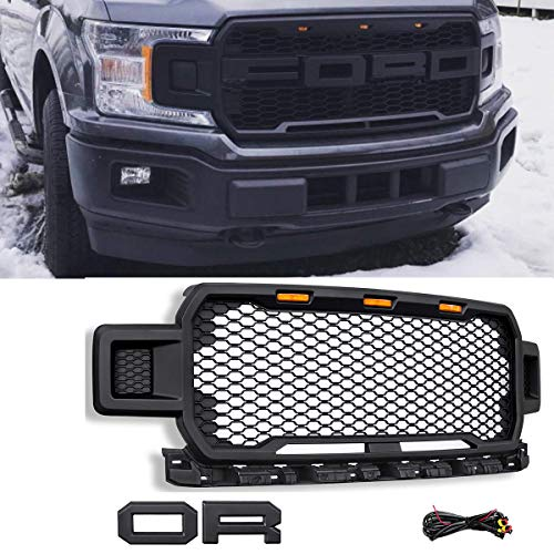 (Modifying Front Grille Fit for FORD F150 2018 2019 Style Grille with 3 Amber Led Lights and Conversion Letter )