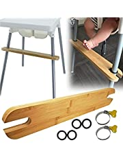 Footrest for Baby Highchair, Non-Slip Adjustable Height Natural Bamboo Baby Highchairs Pedal with Rubber Rings, Compatible with IKEA Highchair Foot Rest Accessories