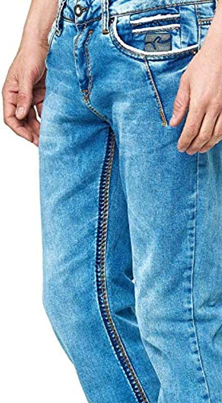 Rusty Neal Męskie dżinsy spodnie jasnoniebieskie letnie spodnie dżinsowe grube szwy Light Blue Regular Fit Stretch Denim 46: Odzież