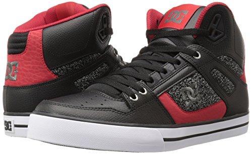 DC Men's Spartan HI WC Skateboarding Shoe, Black/Black/Red, 7 M US
