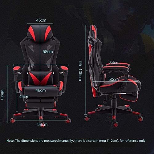 Spelstol, vridbar E-sport stol ländrygg stöd kudde datorstol infällbart fotstöd bekväm vilstol