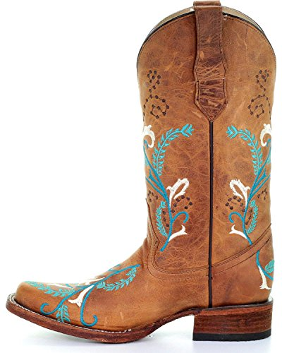 Embroidered Cowgirl Womens L5388 Boot Toe Circle G Turquoise Tan Square PwI5SntqA