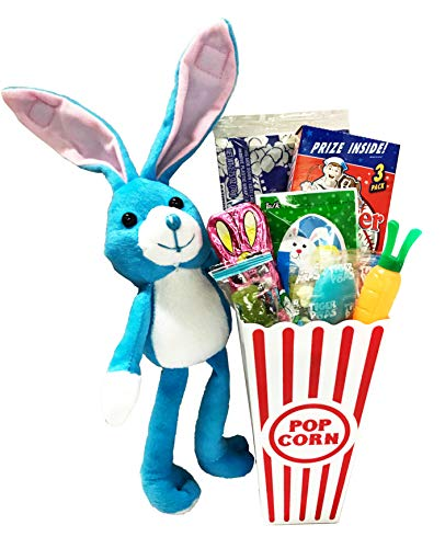 Movie Night Popcorn Care Package - Easter Gifts Basket Plus Free Redbox Movie Rental Code With Popcorn Bucket, Theater Popcorn and Delicious Candy Snacks (Easter Popcorn Gift - Individual)