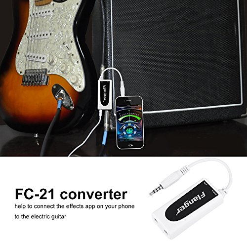 Guitar Converter Adapter Link for Iphone FC-21 Electric Guitar Bass to Mobile Phone Interface Connector Converter Instruments Accessory for Smart Phone Ipad Tablet - White (Best Guitar Tab App For Ipad)