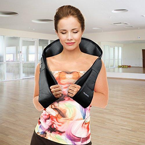 Shiatsu Deep Kneading Massage Pillow with Heat, Car/Office Chair Massager, Neck, Shoulder, Back, Waist Massager Pillow (Black)