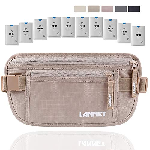 Money Belt for Travel RFID Blocking Hidden Waist Wallet Pouch Under Clothes Passport Holder Antitheft Waist Stash Bag for Men Women Travelling and Daily Use, Bonus 10 RFID Credit Card ()