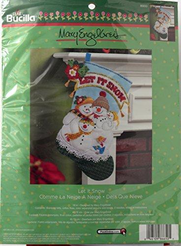 Bucilla 18-Inch Christmas Stocking Felt Applique Kit, 86650 Let it Snow
