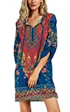Urban CoCo Women Bohemian Neck Tie Vintage Printed Ethnic Style Summer Shift Dress (Small, Pattern 3)