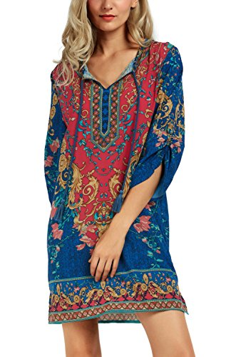 Women Bohemian Neck Tie Vintage Printed Ethnic Style Summer Shift Dress (Large, Pattern 3)
