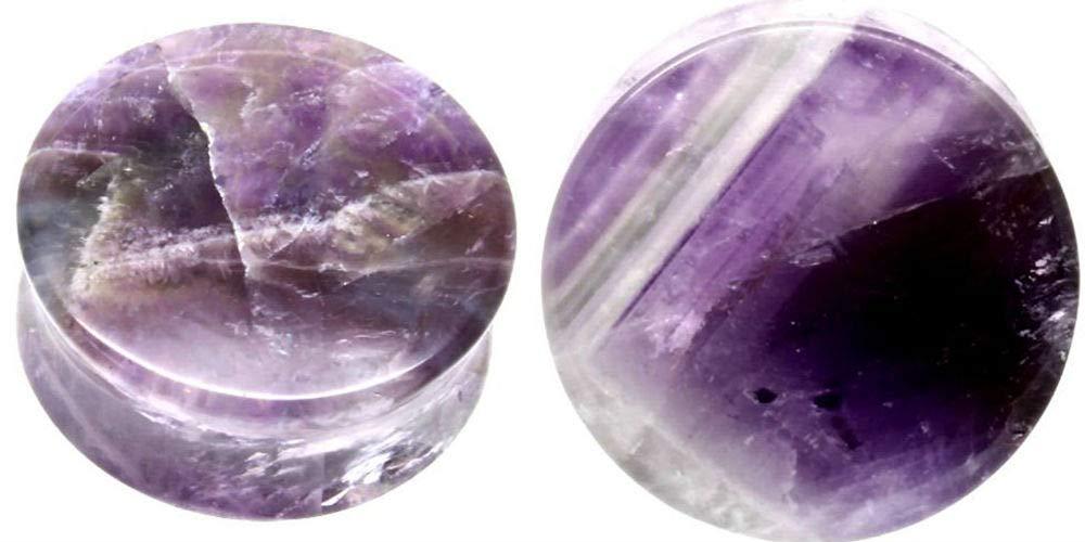 Covet Body Jewelry Pair 8G-38mm Rainbow Fluorite Stone Plugs Tunnels Gauges Double Flare Organic Blue Purple