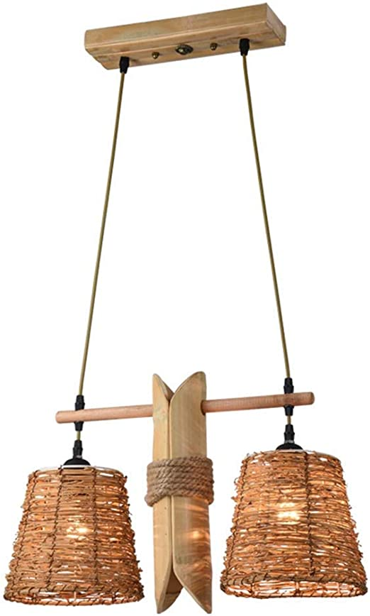 Lámpara de candelabro de mimbre de bambú rústico Lámpara colgante ...