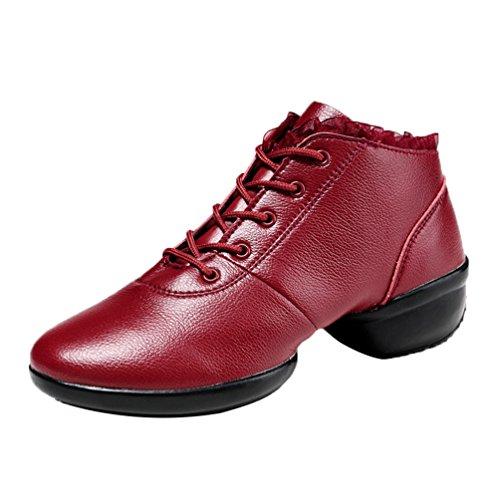 Mou Augmenté De Carrée Printemps Danse Femme Velours Plus Creux Fond Chaussures Rouge Cuir Youpue Moderne 8zW1npn