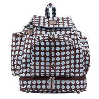 Kalencom Heavenly Dots Diaper Backpack, Chocolate/Blue