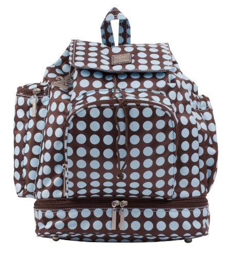 Kalencom Heavenly Dots Diaper Backpack, Chocolate/Blue - Kalencom Heavenly Dots