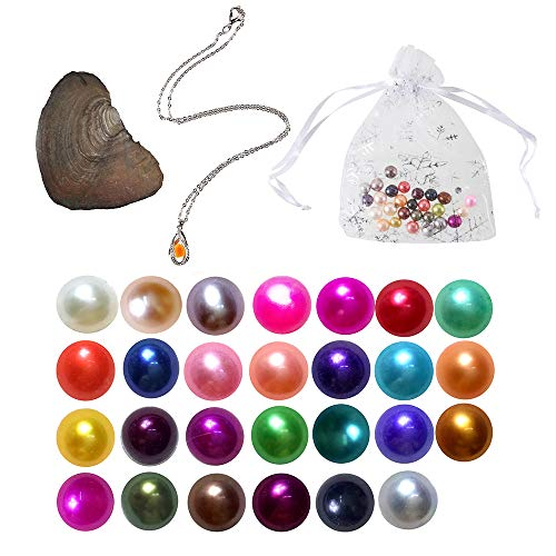(2019-Freshwater Cultured Love Wish Pearl Oyster with Round Pearl Inside 20 Colors(Random round pearl colors which size from 7-8mm 20pcs, gifts including pendant, necklace, essential oil diffuser, bund)