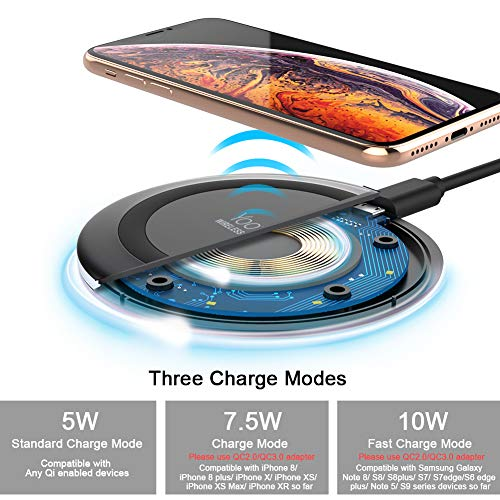 Yootech Wireless Charger Qi-Certified 7.5W Wireless Charging Compatible with iPhone XS MAX/XR/XS/X/8/8 Plus,10W Compatible Galaxy S10/S10 Plus/S10E/S9,5W All Qi-Enabled Phones(No AC Adapter)