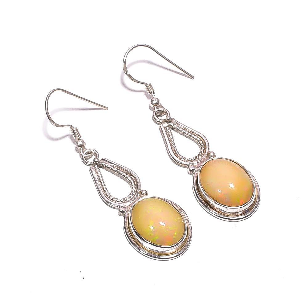Mughal Gems /& Jewellery 925 Sterling Silver Earrings Stud Women Earrings Natural Ethiopian Opal Stone Earring for Women /& Girls 5.83 Grm