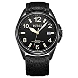 BUREI Unisex Canvas Field Automatic Watch Black Luminous Dial with Date Sapphire Crystal Fabric Strap