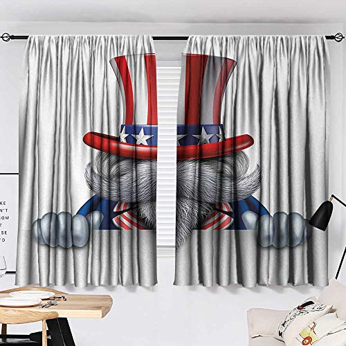 Jinguizi 4th of July Curtain for Bedroom Uncle Sam Hat Wearing Cat with Stars and Stripes American Patriotic Symbols Background Darkening Curtains Multicolor W55 x L39 by Jinguizi (Image #1)
