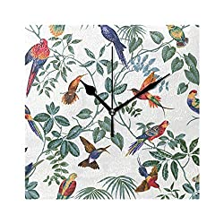 LORVIES Aviary Multi Pattern Wall Clock Silent Non Ticking Acrylic 8 Inch Square Decorative Clock for Home/Office / Kitchen/Bedroom / Living Room