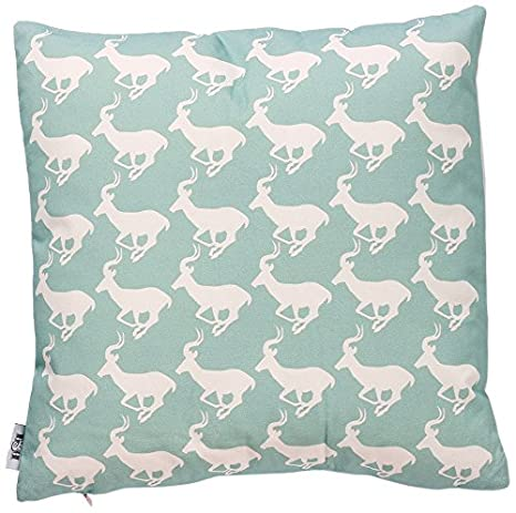 B&H Cojín con Diseño Antilopes Fondo Turquesa Algodón ...