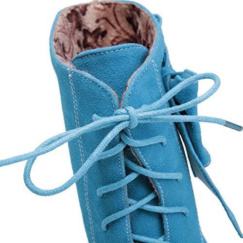 Stiefel AdeeSu SXC01822 Damenmode Wedges Comfort Wildleder Blau Rutschfeste qrwB6rXx7