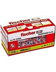 fischer 555005 universele pluggen DuoPower 5 x 25, voor bevestigingen in beton, metselwerk en plaatmateriaal, 100 stuks