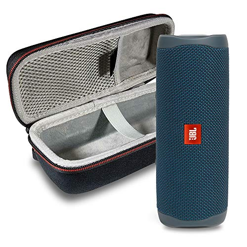 JBL FLIP 5 Portable Speaker IPX 7 Waterproof On-The-Go Bundle with Deluxe Hardshell Case (Blue)