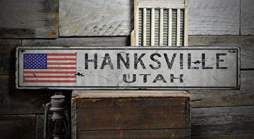 HANKSVILLE, UTAH - Rustic Hand-Made Vintage Wooden Sign - Hanksville Utah