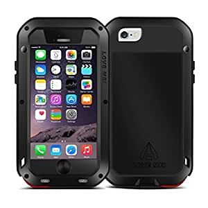 Onker Shockproof Waterproof Dust/Dirt/Weatherproof Hard Shell Aluminum Metal Gorilla Glass Protective Case Cover for Apple iPhone 6 Plus (5.5 inches).(Black)