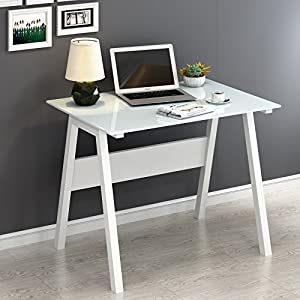 CherryTree Furniture Contemporary Computer Desk with Tempered Glass Top (White)