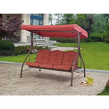 Outdoor 3 Triple Seater Hammock Swing Glider Canopy Patio Deck Red Pattern