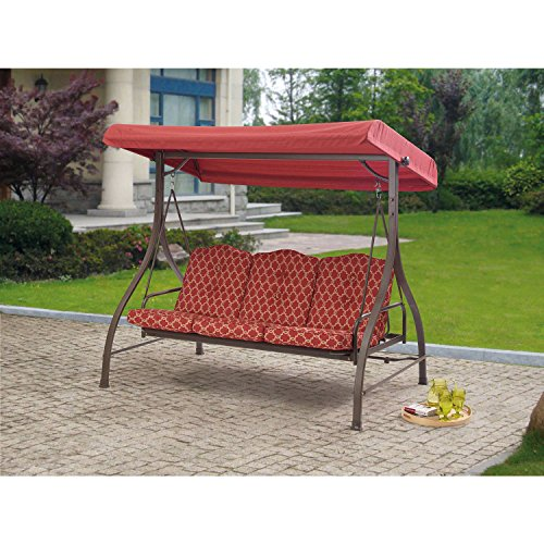 Outdoor 3 Triple Seater Hammock Swing Glider Canopy Patio Deck Red Pattern