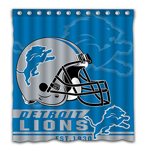 Felikey Custom Detroit Lions Waterproof Shower Curtain with Color Bathroom Decoration Size of 66x72 Inches (Curtain Lions Detroit Shower)