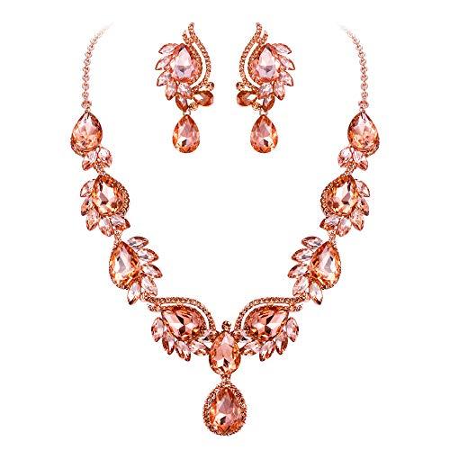 (Flyonce Women's Crystal Wedding Floral Leaf Teardrop Necklace Earrings Set Champagne Color Rose Gold-Tone)