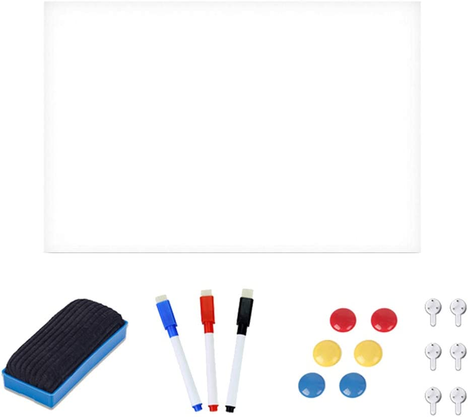 kowaku Magnetic Whiteboard Sticker, Dry Erase Board for Wall Refrigerator, Bonus 3 Dry Erase Markers, 1 Magnetic Eraser- Whiteboard Sheet Wall Decals - 40X60CM