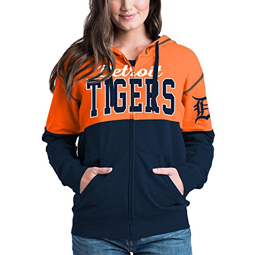 Tigers Womens Hoodie Sweatshirt (Detroit Tigers Women's French Terry Zip Up Color Block Hoodie X-Small)