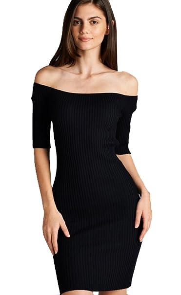 "df0397405e3822 ""BLACKASHMERE"" Women's Off Shoulder Ribbed Knit Midi Dress  (Small, Black)"