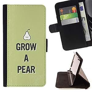 - HEALTHY GREEN PEAR LIFESTYLE FRUIT FOOD RAW - - Prima caja de la PU billetera de cuero con ranuras para tarjetas, efectivo desmontable correa para l Funny HouseFOR Samsung Galaxy S5 Mini, SM-G800