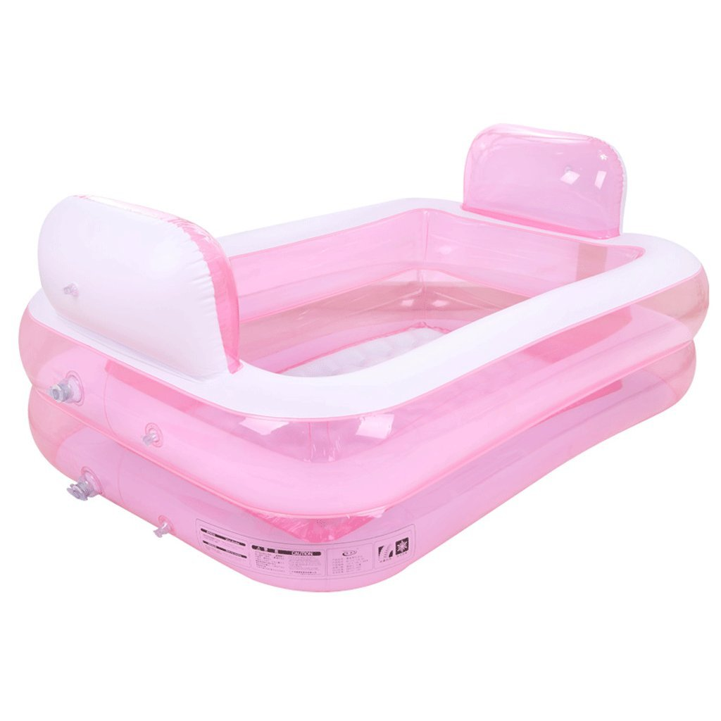 Bathtubs Freestanding Home Inflatable Folding Tub Adult Thicker Insulated Hot Tub SPA Tub (Color : Pink)