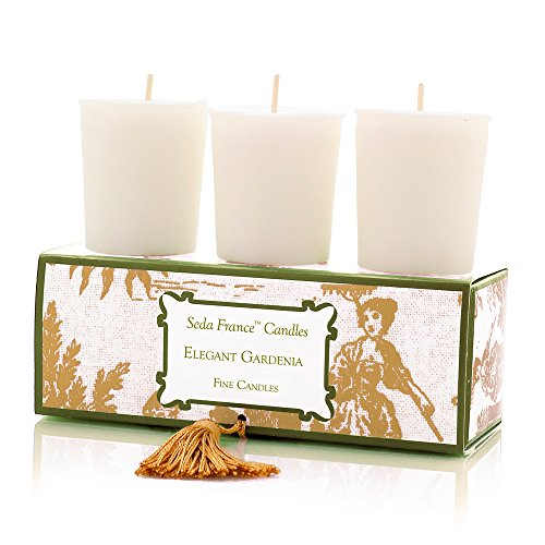 Seda France Classic Toile Votive Candles, Elegant Gardenia, 2 Ounce