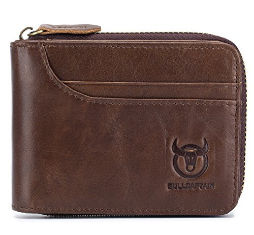 (Leather Men Wallet RFID Blocking Vintage Bifold Wallets Credit Cards Holder (Brown))