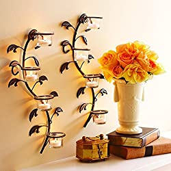 Hosley Leaf Wall Art Candle Holder Wall Sconce Pla
