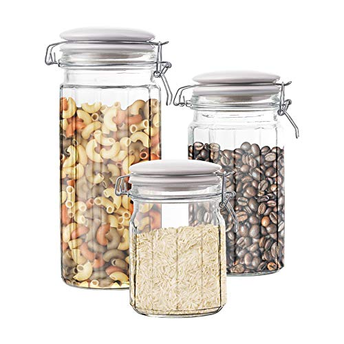 Style Setter Canister Set 3-Piece Glass Jars in 30oz, 50oz and 65oz Chic Design With Lids for Cookies, Candy, Coffee, Flour, Sugar, Rice, Pasta, Cereal & -