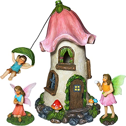 Mood Lab Fairy Garden Miniature Flower House Kit - Figurines and Accessories Set of 4 pcs - 8.6 Inch Tall House