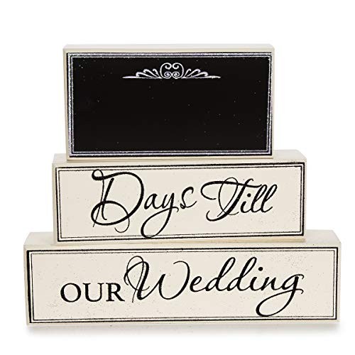 Darice Chalkboard Wedding Day Countdown Blocks Assorted (4 Pack) -