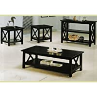 New Cappuccino Wood Coffee Table Set Wooden End Tables